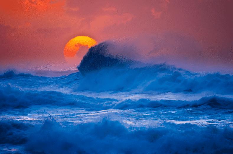 Kauai Sun Setting Wave