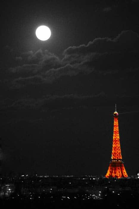 Moon Over Eiffel Tower Paris